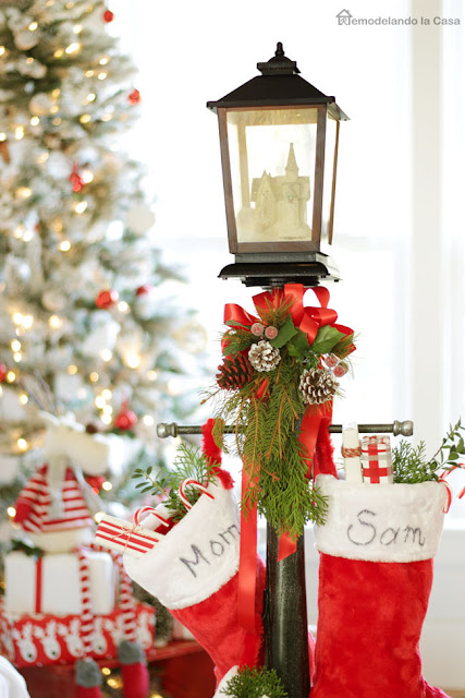 learn how to make a faux gas lantern stocking holder