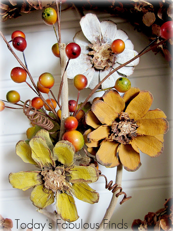 Today S Fabulous Finds Fall Pine Cone Flower Wreath