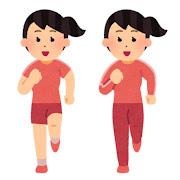 正面から見た走る女性のイラスト