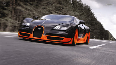 Bugatti Veyron black orange car