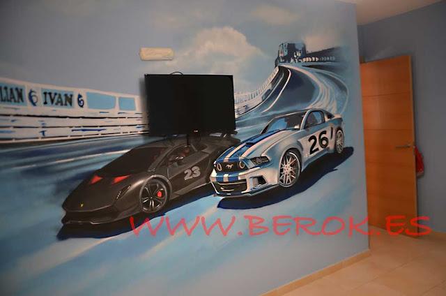 habitación graffiti carrera de coches
