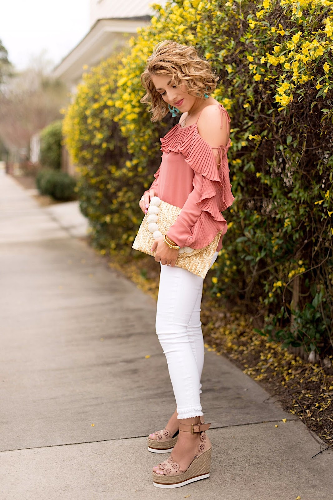 My Favorite White Jeans and Wedges for spring - Click through to see more on Something Delightful Blog