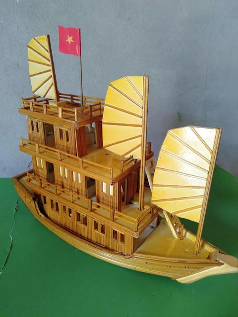 Handmade tăm tre làm du thuyền Hạ Long - Quà tặng độc đáo