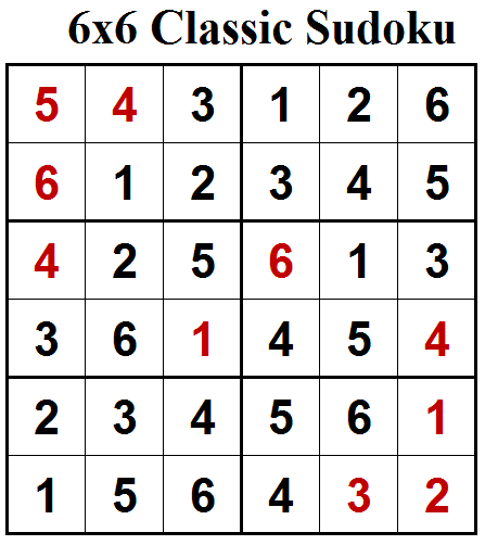 Mini Classic Sudoku (Mini Sudoku Series #70) Solution