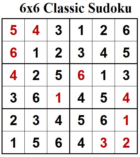 Mini Classic Sudoku (Mini Sudoku Series #70) Solution