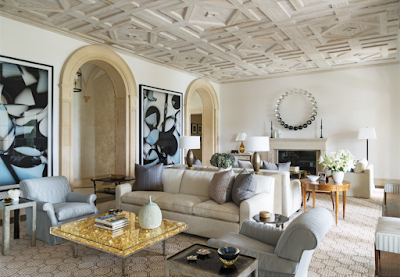 David Kleinberg Design in Palm Beach living room with coffered ceiling