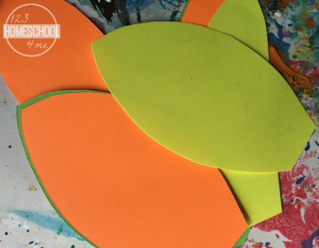 cut out leaves in fall colors for your fall art project