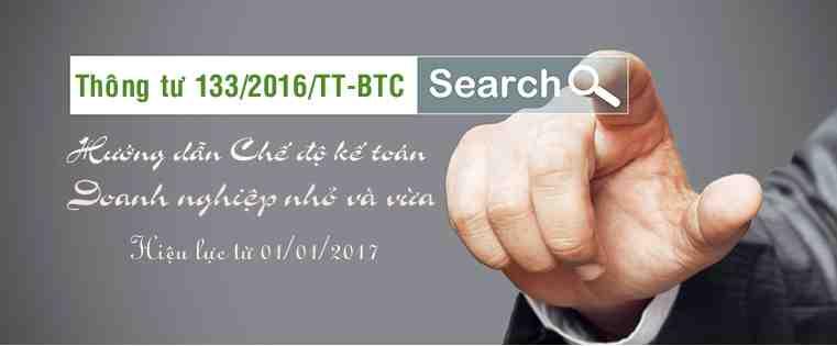 Thông tư 133/2016/TT-BTC- Ban hành chế độ kế toán doanh nghiệp nhỏ và vừa