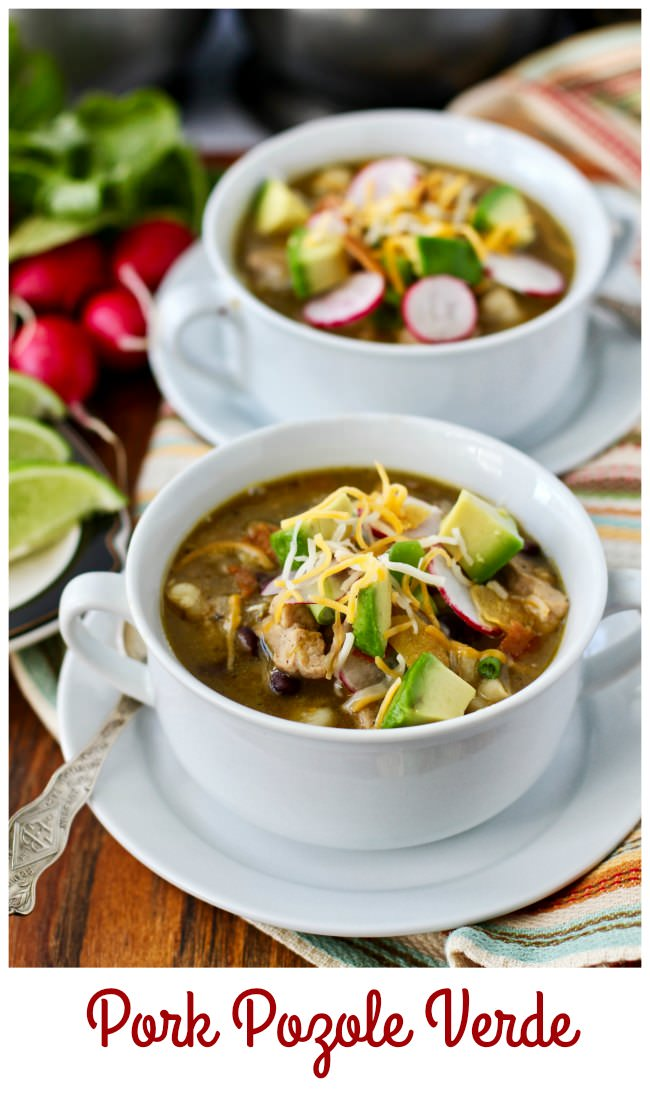 Pork Pozole Verde with garnishes