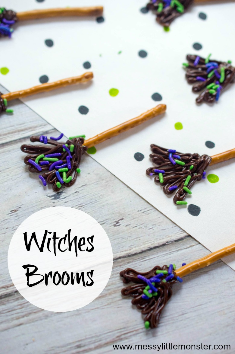 Looking for easy Halloween party food ideas? Chocolate witches brooms make the perfect Halloween snack!