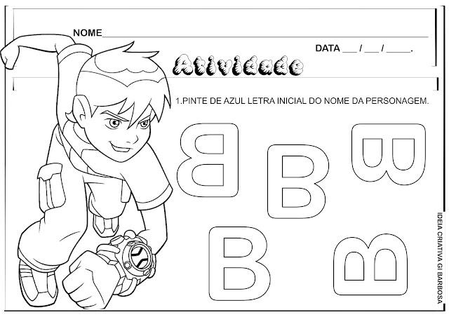 Atividade Letra B com Personagem Ben 10 para Colorir