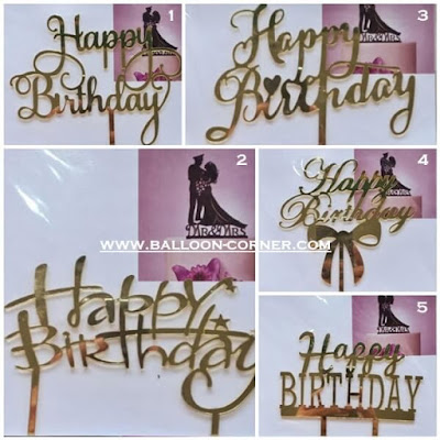 Cake Topper Acrylic Motif HAPPY BIRTHDAY (MURAH)