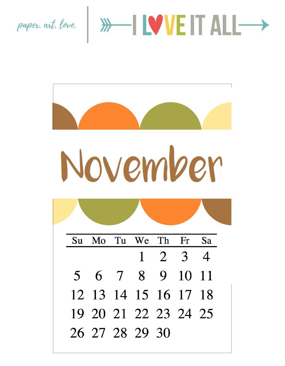 Free November Calendar Cutie