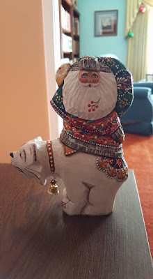 Russian carving of Santa on a polar bear