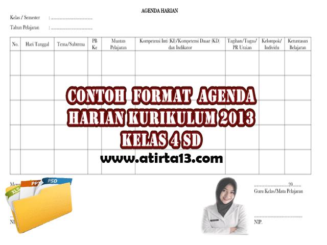 Contoh Format Agenda Harian Kurikulum 2013 Kelas 4 SD