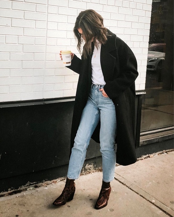 What to Wear for a Winter Coffee Run — Black Coat, Jeans, Snake-Print Ankle Boots