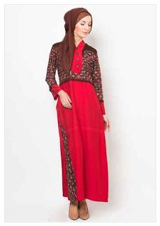 Model Baju Batik Muslim Kerja Kantor Atasan Gamis Yang