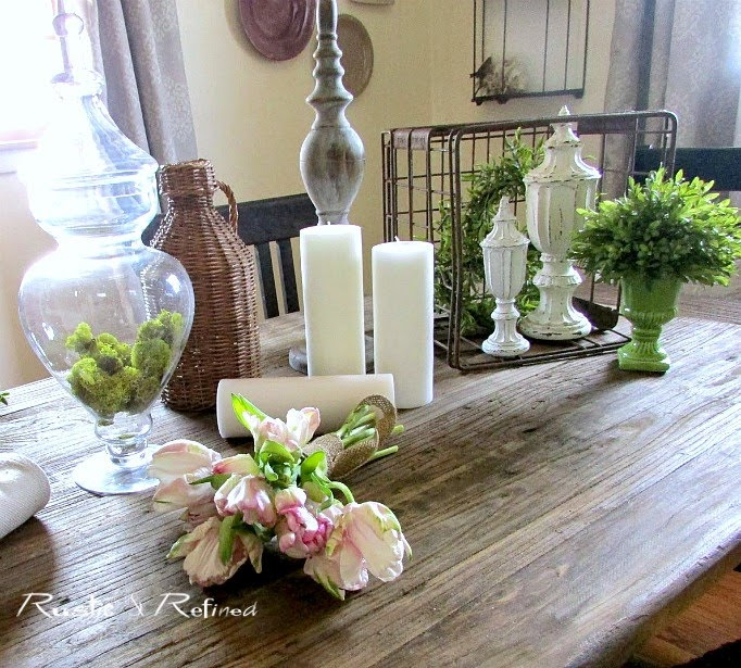 Rustic flair tablescape with a French twist, using thrift store items found around my home, that you can imitate with very little effort!