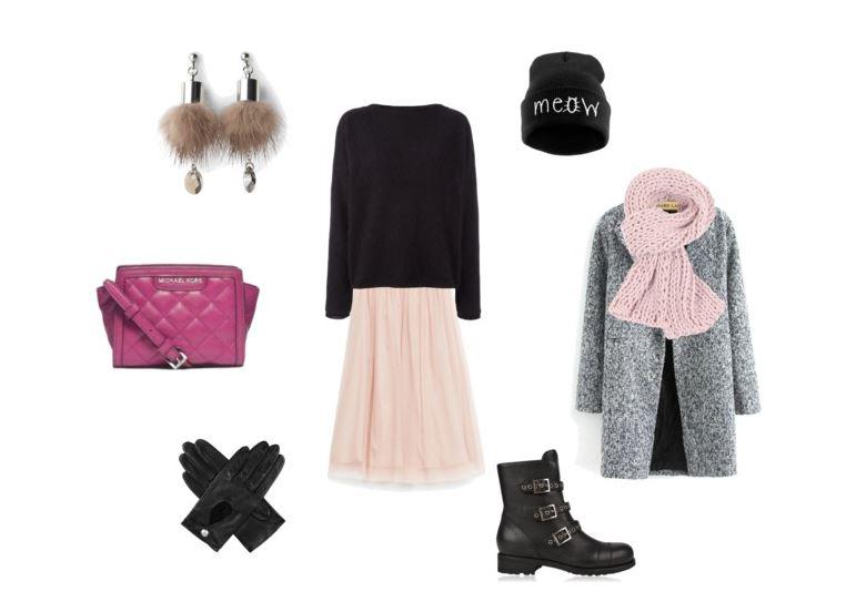 zimowa stylizacja z tiulową spódnicą z Zary netstylistka blog modowy