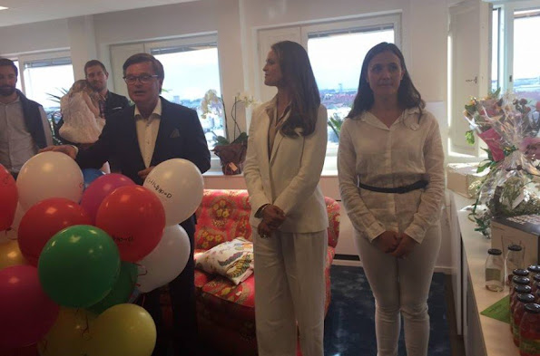 Princess Madeleine of Sweden attended the new office opening of Childhood Foundation in Stockholm. JOSEPH Pink Kimono Sleeve Shirt