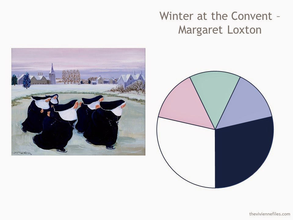 "The painting ""Winter at the Convent"" by Margaret Loxton, with a color scheme drawn from the painting"