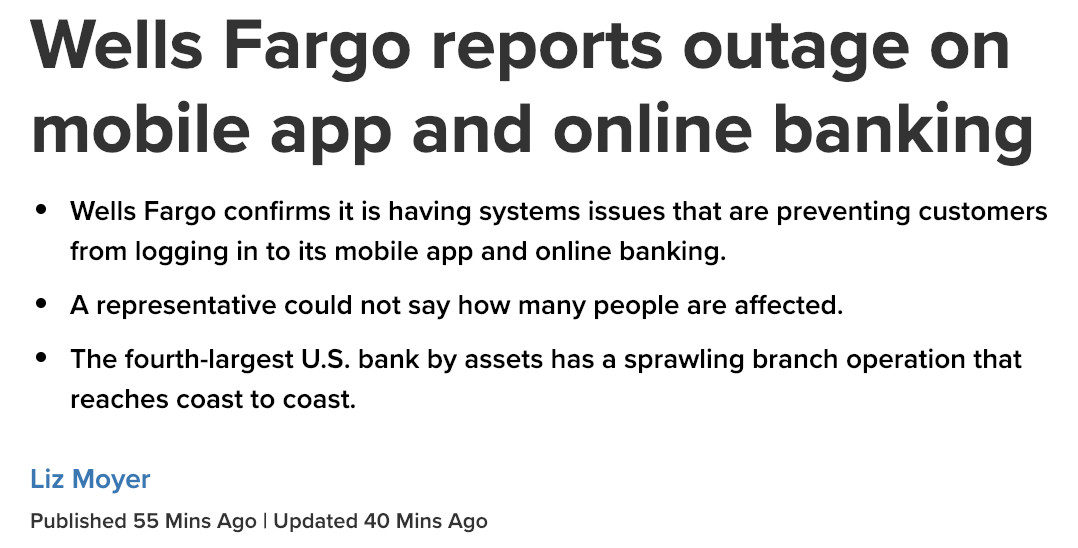 28 48 118 | Wells Fargo experiences online banking outage
