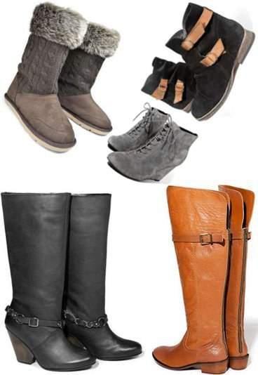 545e5817173a3 Szare buciki na koturnie, cena: 249,99zł. Wysokie czarne buty, cena:  329,99zł. Wysokie buty w kolorze Camel, cena: 379,99zł. Czarne buty z  brązowymi ...