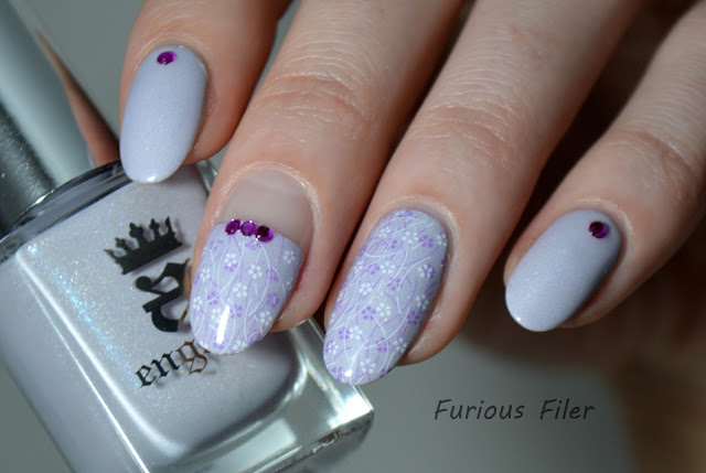delicate floral double stamping rhinestones negative space nails