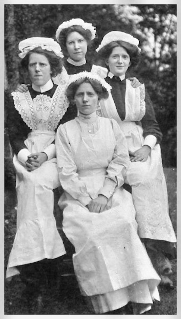 Vintage photo. Four housemaids in uniform. c.1900s. Housekeeping A Word to Women by Mrs. C. E. Humphry, 1898. marchmatron.com