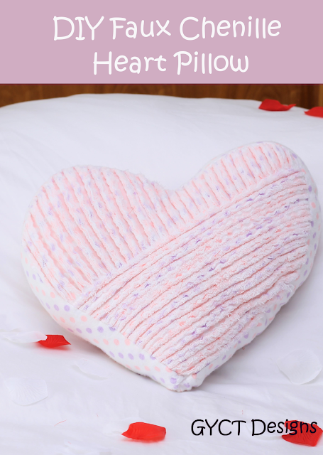 DIY Faux Chenille Heart Pillow Pattern and Tutorial