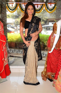 Neetu Chandra in Black Saree at Designer Sandhya Singh Store Launch Mumbai (74).jpg