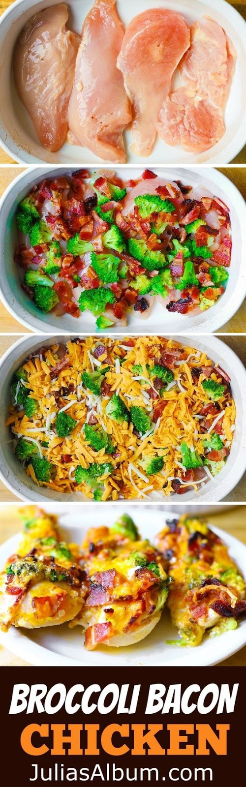 Broccoli Bacon Cheddar Chicken Breasts baked in a casserole dish. Gluten free recipe