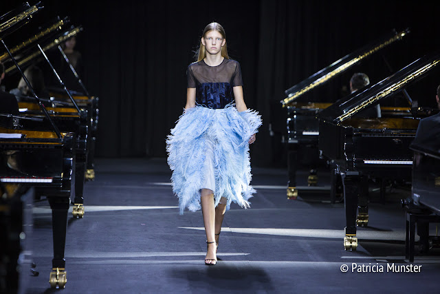 Light blue feather skirt by David Laport SS2019