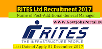 RITES Limited Recruitment 2017– Additional General Manager