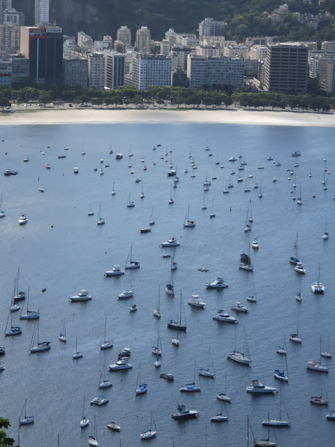 Boats in the harbour viewed from Sugarloaf Cable Car in Rio de Janeiro Brazil