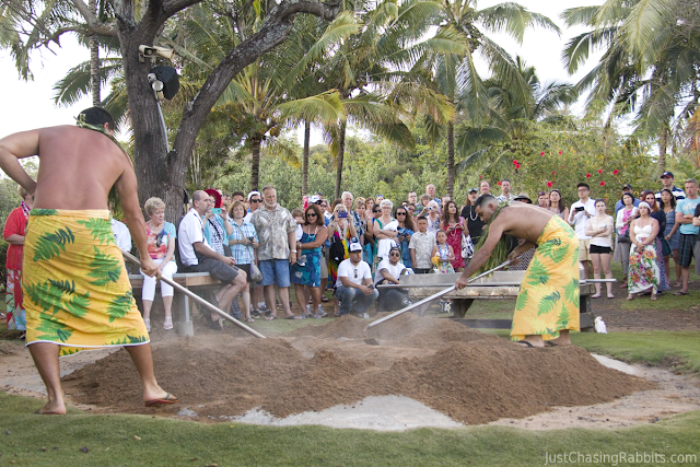 Imu ceremony at the Smith Family Luau