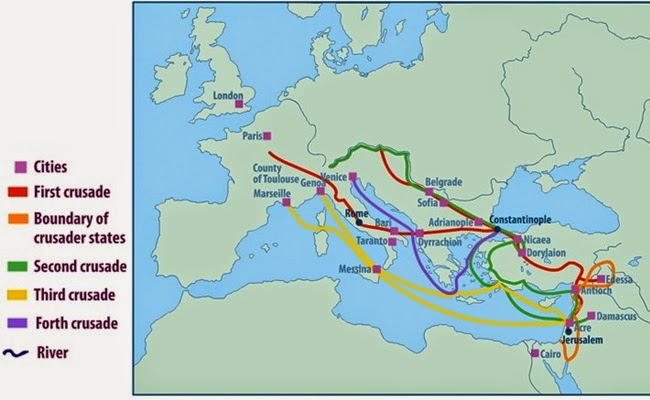 map of crusades and cities on routes historical maps