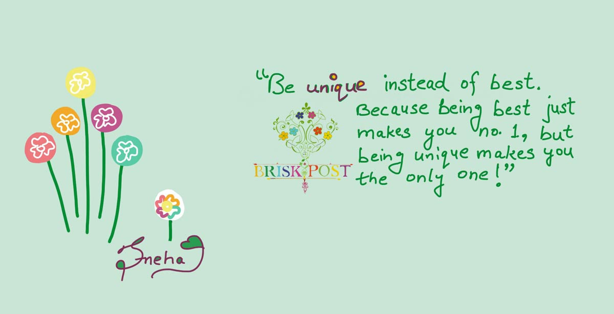 Being unique quote: Colorful flower cartoon illustration