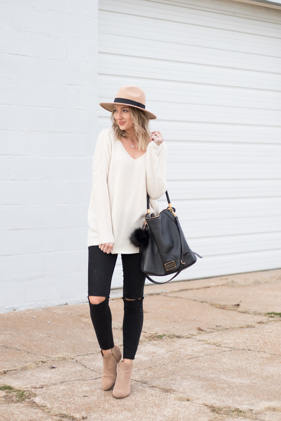Black and cream fall outfit