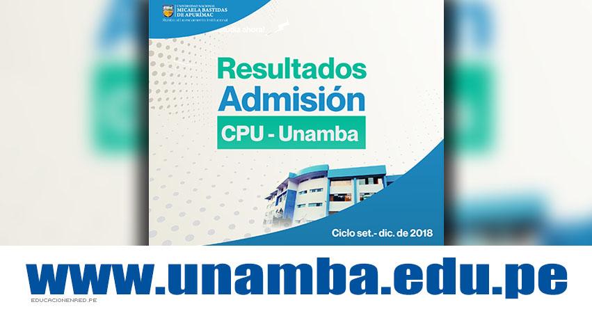 Resultados UNAMBA 2018 (2 Diciembre) Lista de Aprobados - Segundo Examen CPU CICLO Setiembre - Diciembre - Centro Pre Universitario - Universidad Nacional Micaela Bastidas de Apurímac - www.unamba.edu.pe