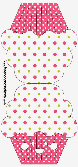 Pink, Green and White Polka Dots Free Printable Cupcake  Invitation.