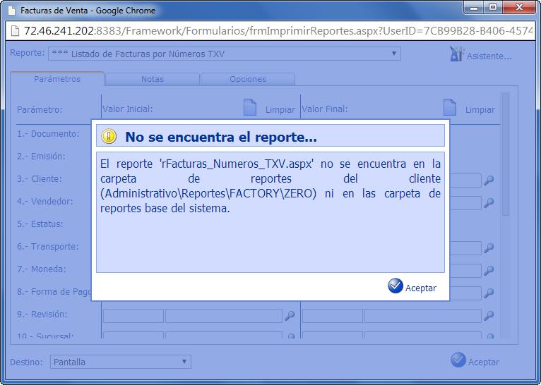 Listado de Reportes: No se Encuentra el Reporte - Programación de Reportes en eFactory ERP/CRM, Contabilidad, Nómina