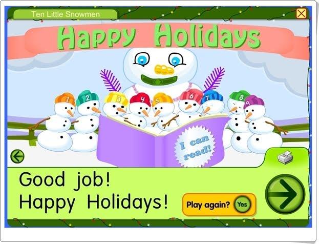 """""""Ten little Snowmen"""" (Juego para componer el muñeco de nieve)"""