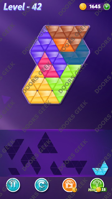 Block! Triangle Puzzle 7 Mania Level 42 Solution, Cheats, Walkthrough for Android, iPhone, iPad and iPod