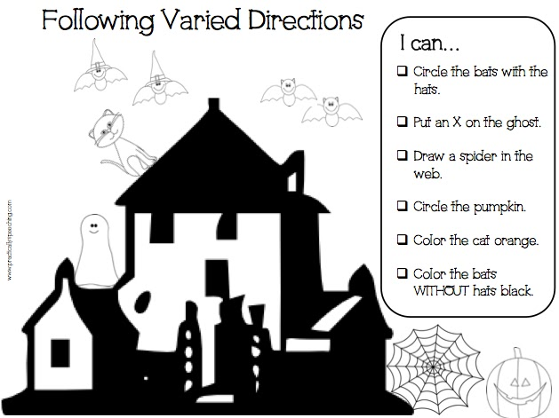 Halloween Following Directions Print-N-Go Packet