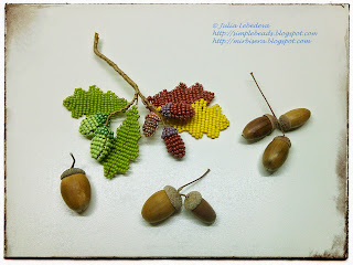 An oak twig with acorns out of seed beads