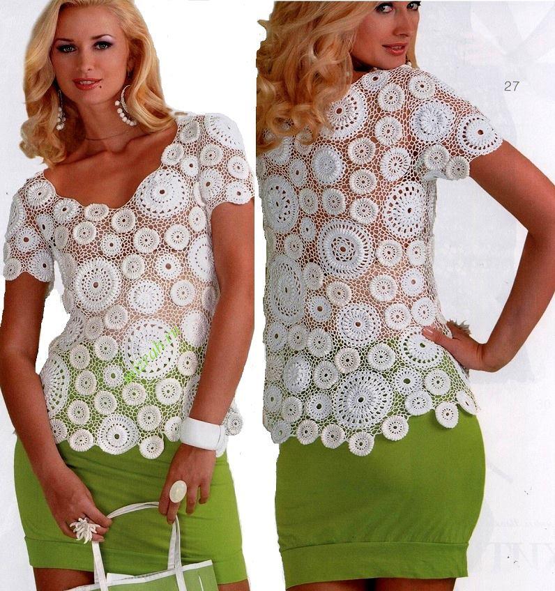 Jersey Circulos de Crochet Patrones