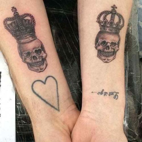 Kuru kafa kral kraliçe sevgili dövmesi