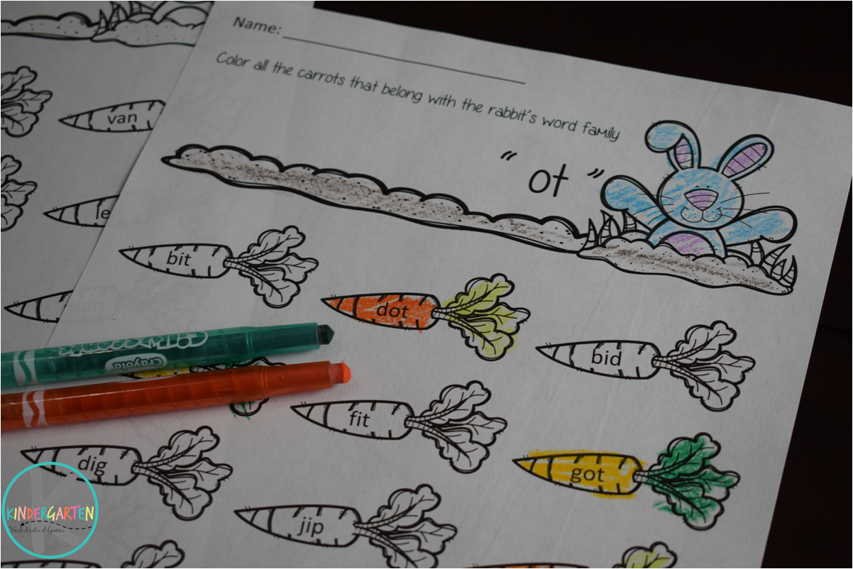 Free Easter Word Families Worksheets Kindergarten