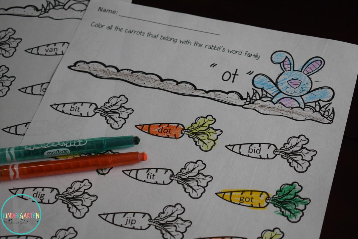 Free Easter Word Families Worksheets Kindergarten